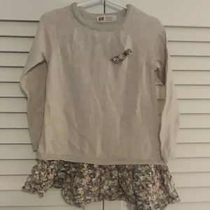 H&M silver and floral toddler girls sweater dress
